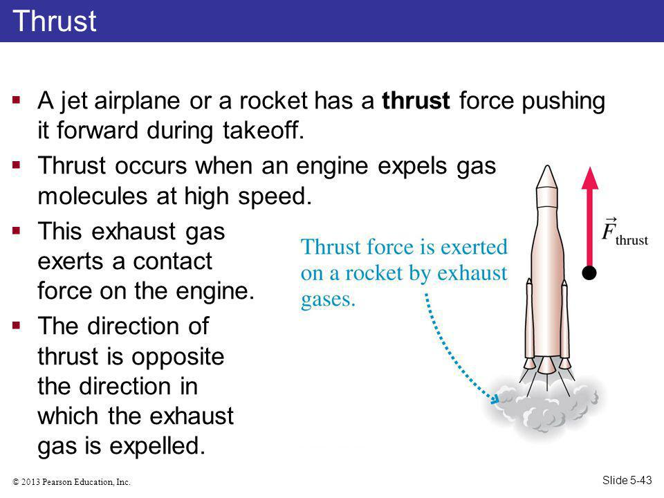 Thrust A jet airplane or a rocket has a thrust force pushing it forward during takeoff.
