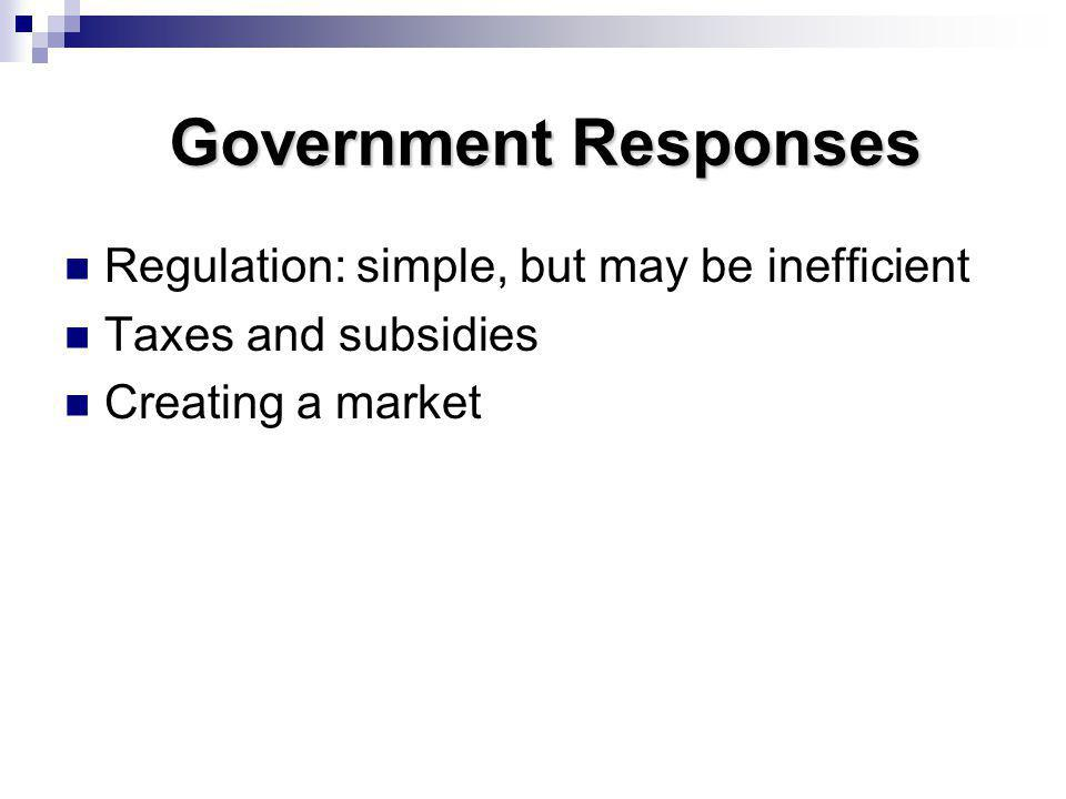 Government Responses Regulation: simple, but may be inefficient