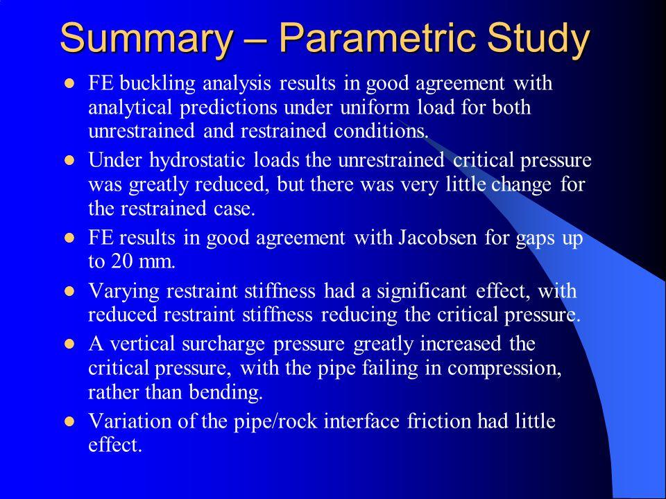 Summary – Parametric Study