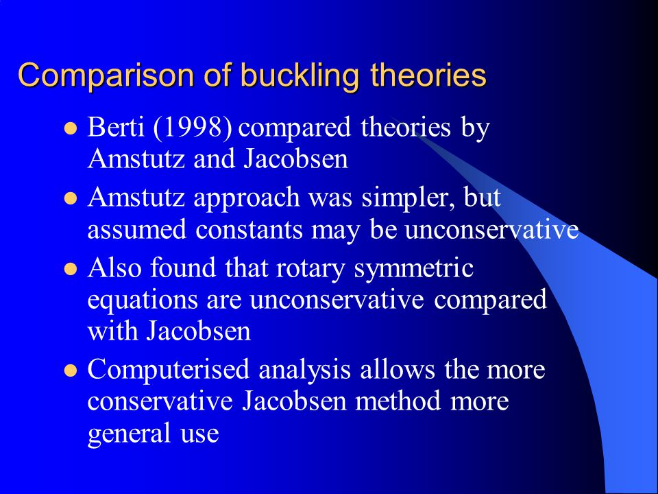 Comparison of buckling theories
