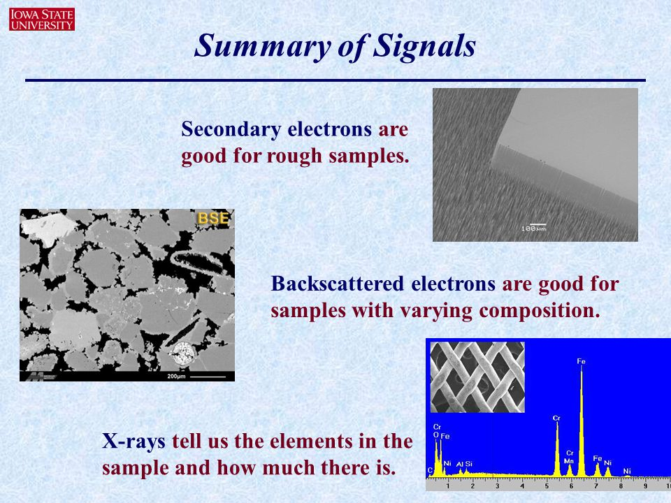 Summary of Signals Secondary electrons are good for rough samples.