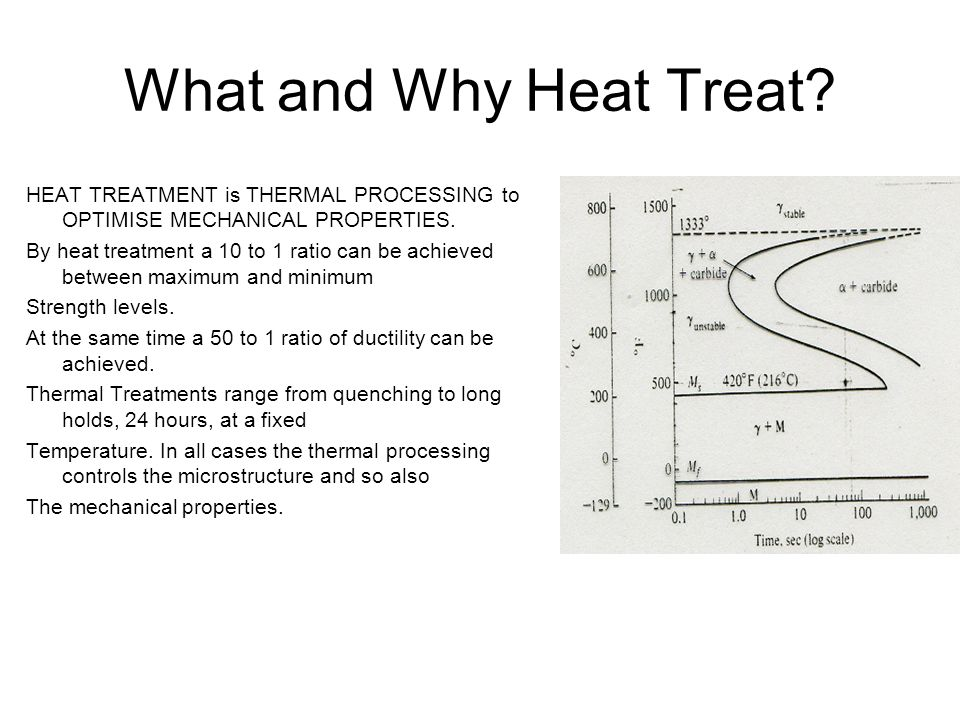 What and Why Heat Treat HEAT TREATMENT is THERMAL PROCESSING to OPTIMISE MECHANICAL PROPERTIES.