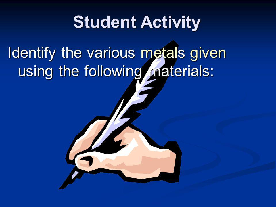Student Activity Identify the various metals given using the following materials: