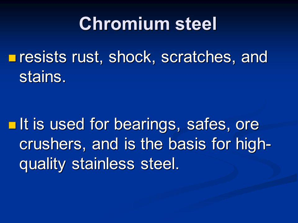 Chromium steel resists rust, shock, scratches, and stains.
