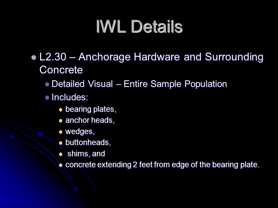 IWL Details L2.30 – Anchorage Hardware and Surrounding Concrete