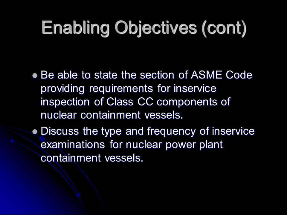 Enabling Objectives (cont)