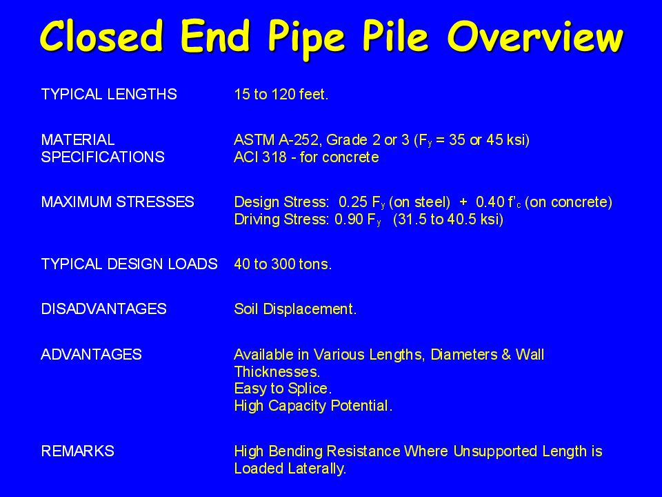 Closed End Pipe Pile Overview