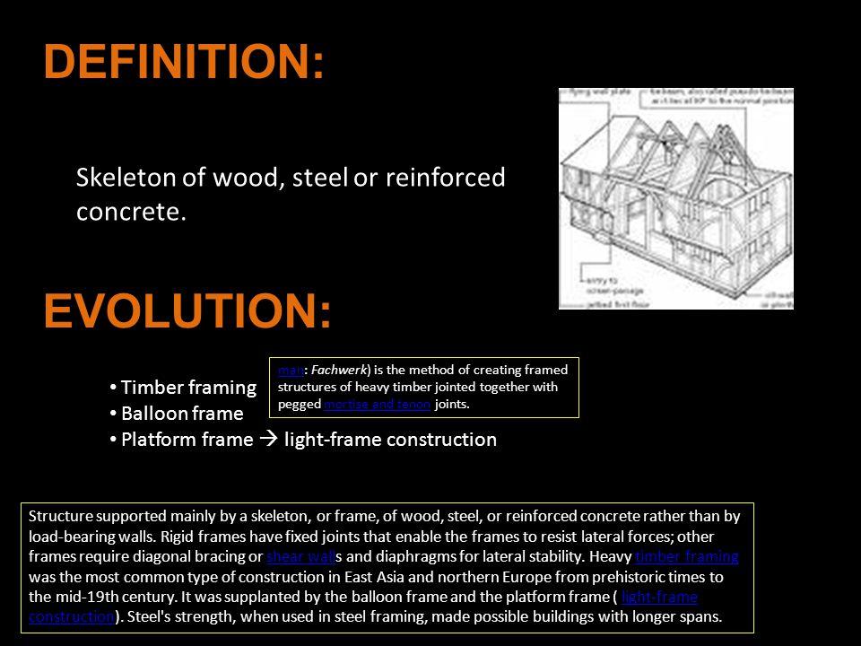 DEFINITION: EVOLUTION: Skeleton of wood, steel or reinforced concrete.