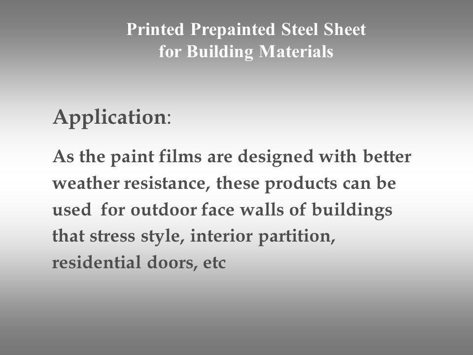 Printed Prepainted Steel Sheet for Building Materials