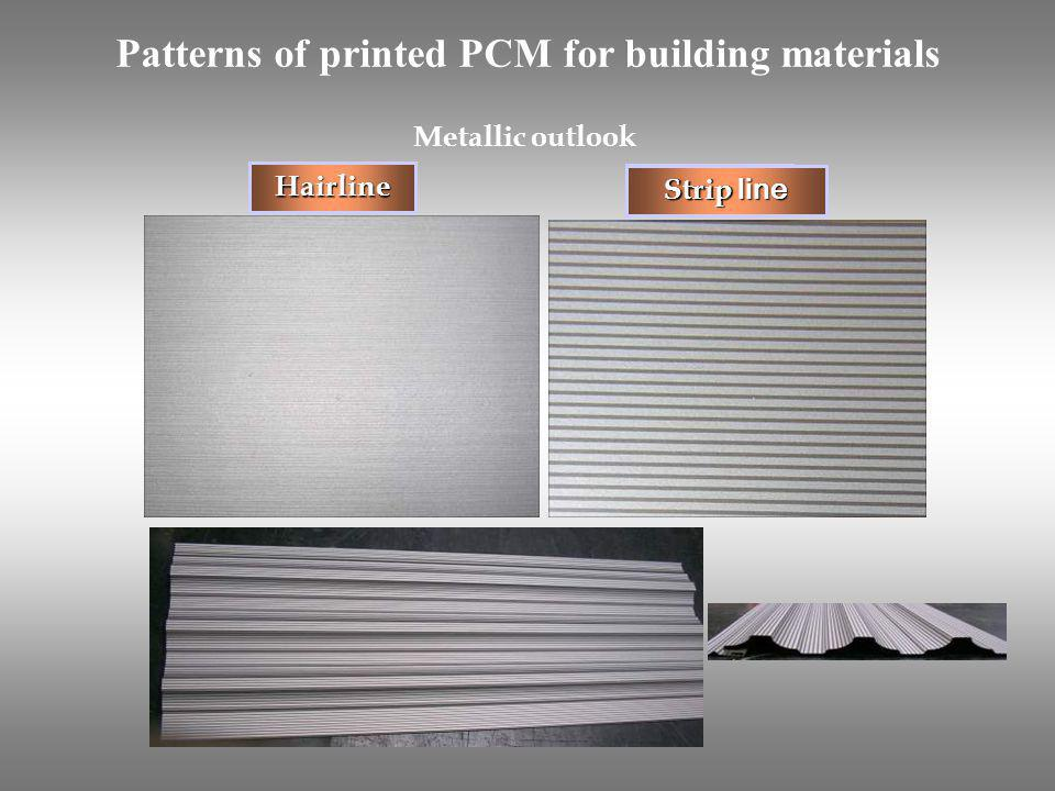 Patterns of printed PCM for building materials