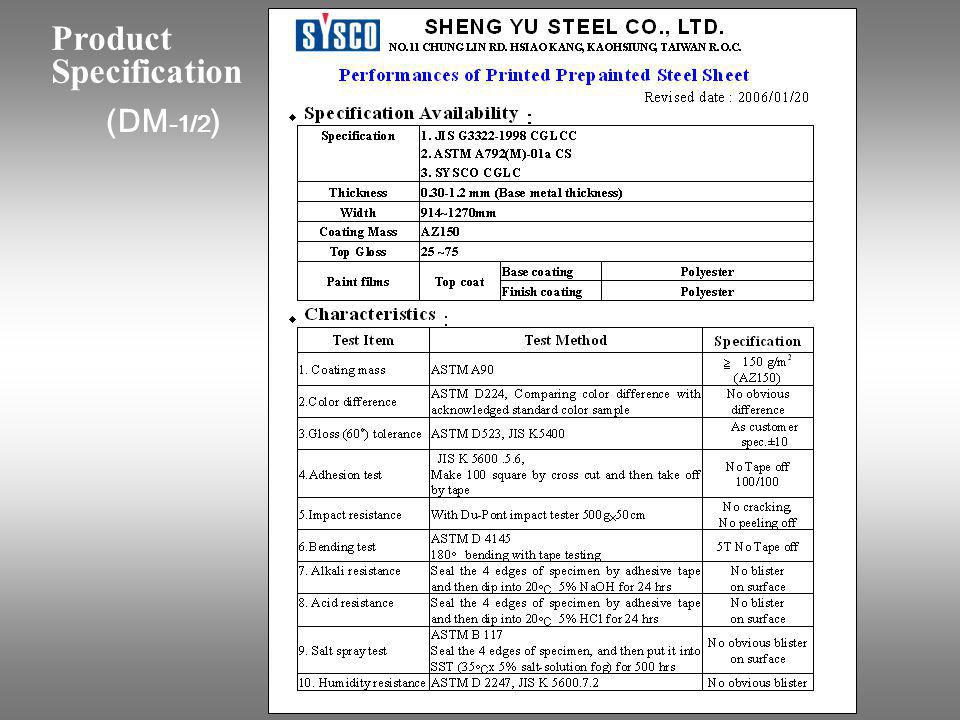 Product Specification (DM-1/2)