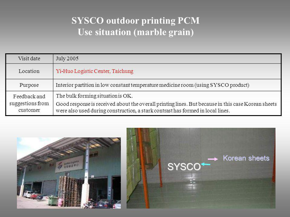 SYSCO outdoor printing PCM Use situation (marble grain)