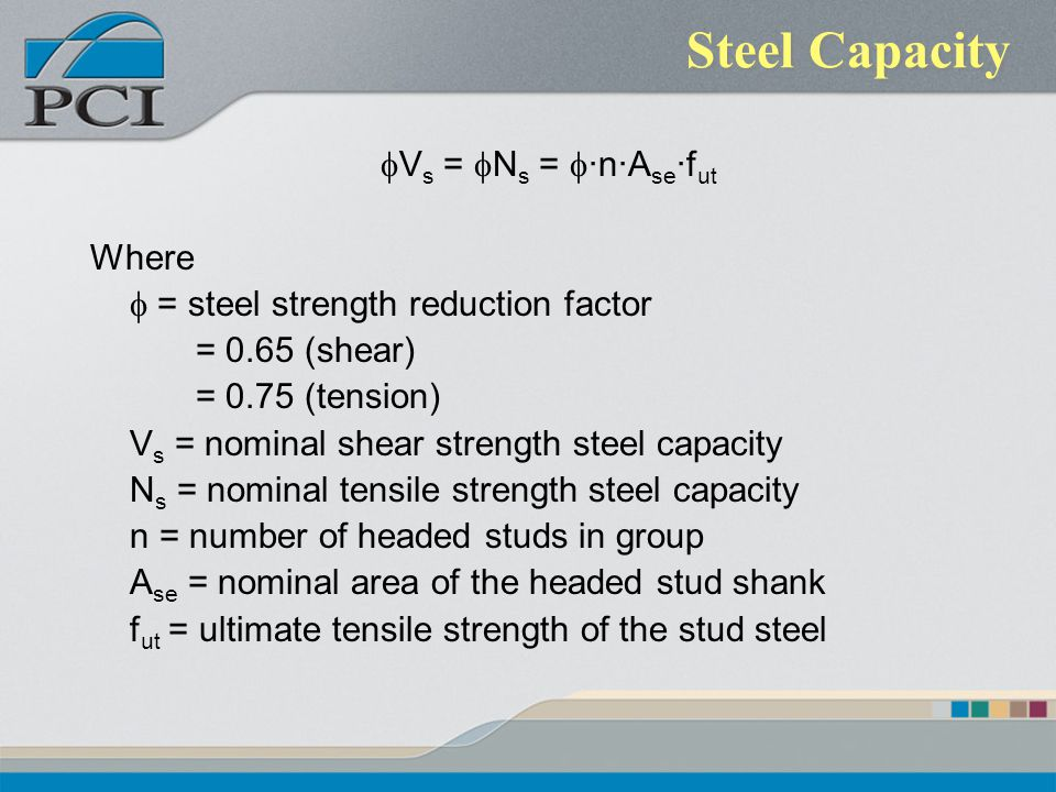 Steel Capacity fVs = fNs = f·n·Ase·fut Where