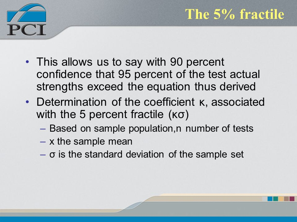 The 5% fractile This allows us to say with 90 percent confidence that 95 percent of the test actual strengths exceed the equation thus derived.
