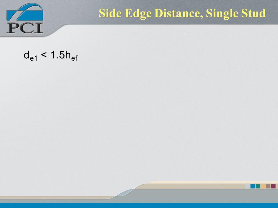 Side Edge Distance, Single Stud
