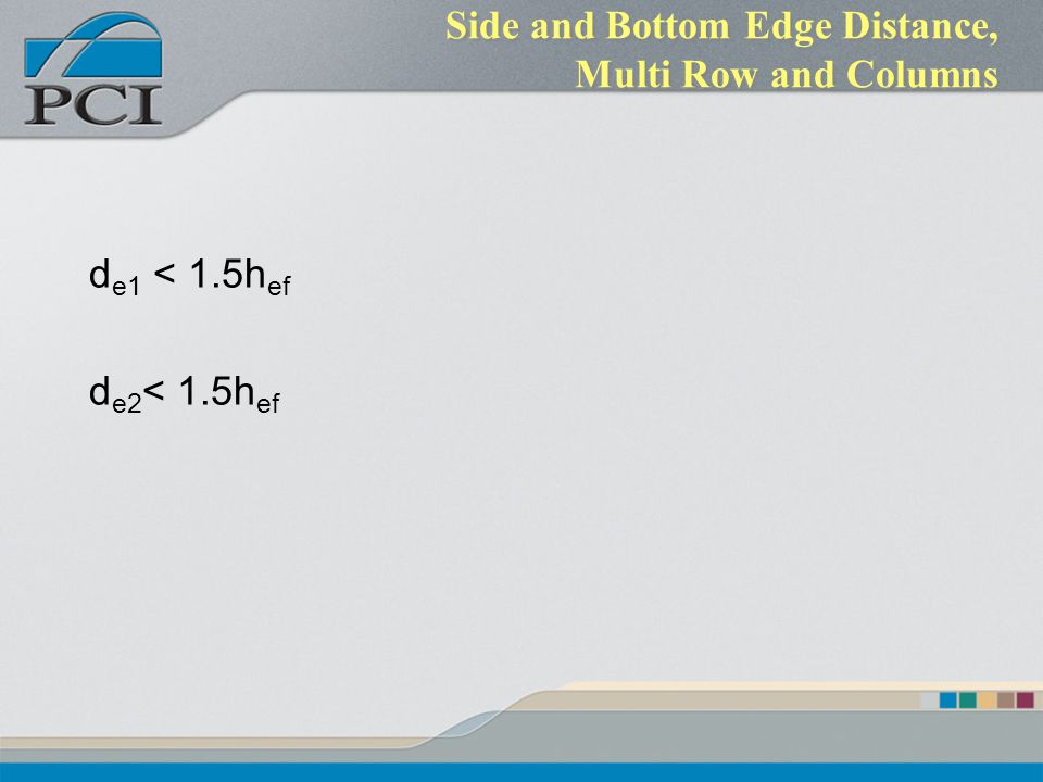 Side and Bottom Edge Distance, Multi Row and Columns