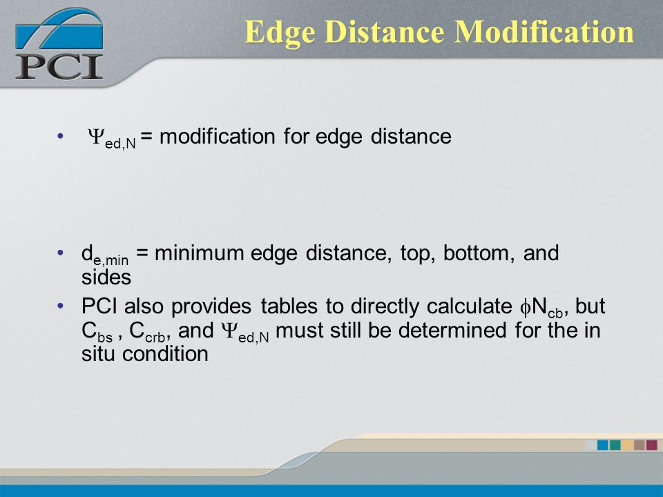 Edge Distance Modification