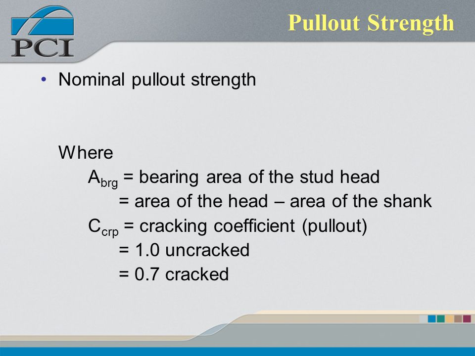 Pullout Strength Nominal pullout strength Where