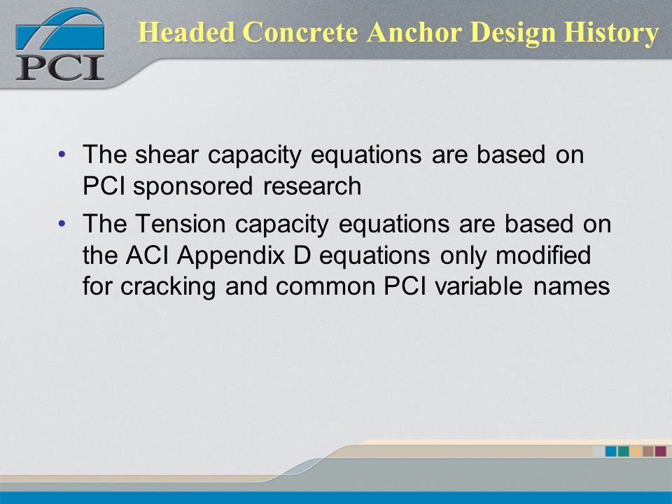 Headed Concrete Anchor Design History