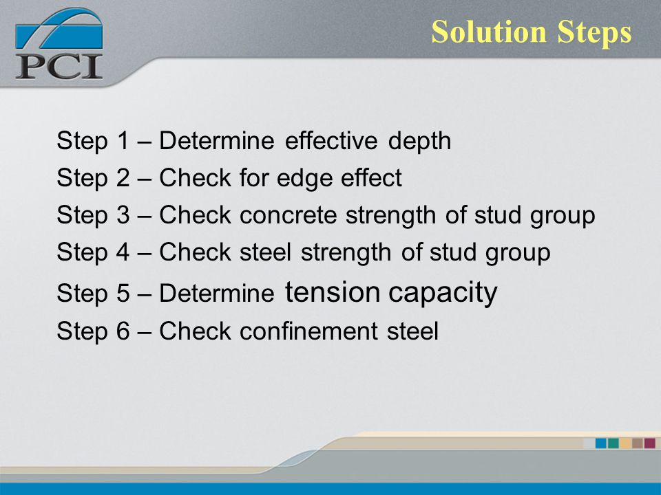 Solution Steps Step 1 – Determine effective depth