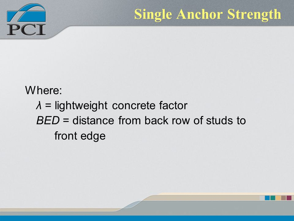 Single Anchor Strength
