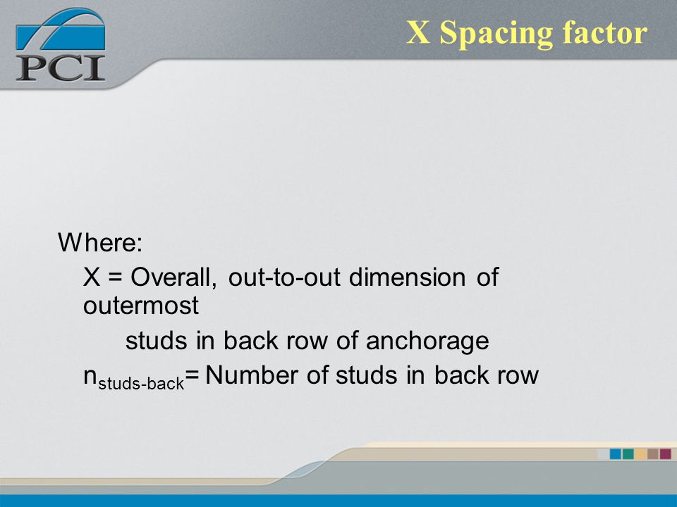 X Spacing factor Where: X = Overall, out-to-out dimension of outermost