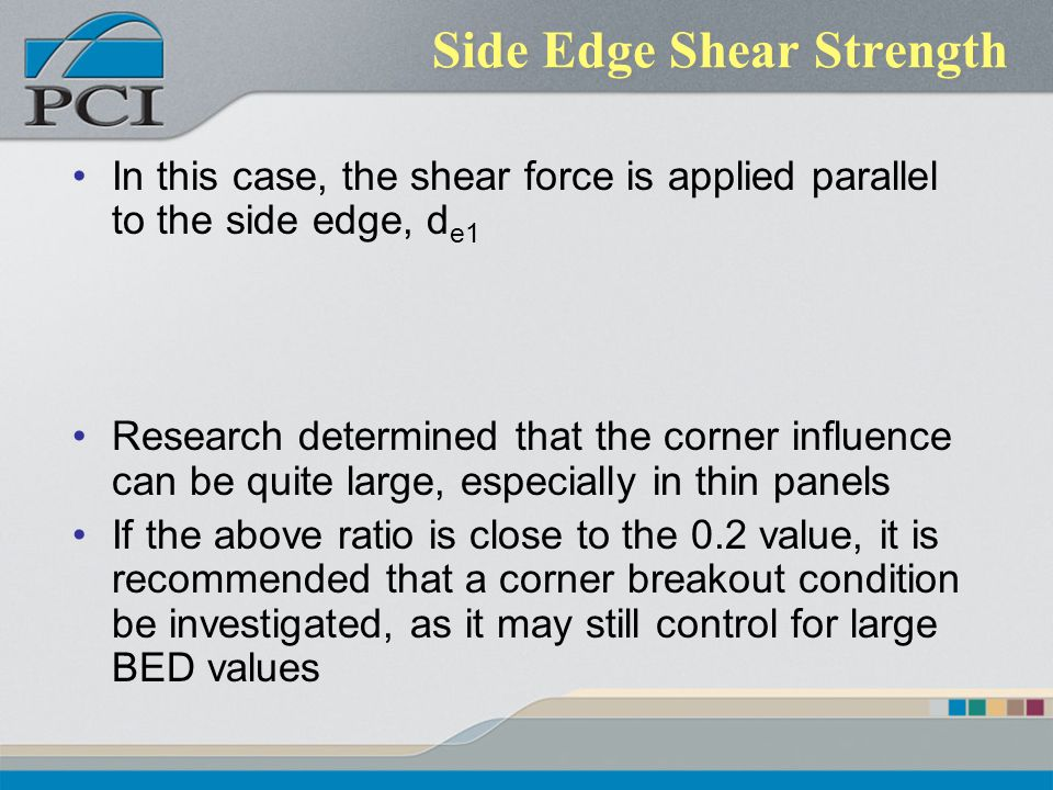 Side Edge Shear Strength