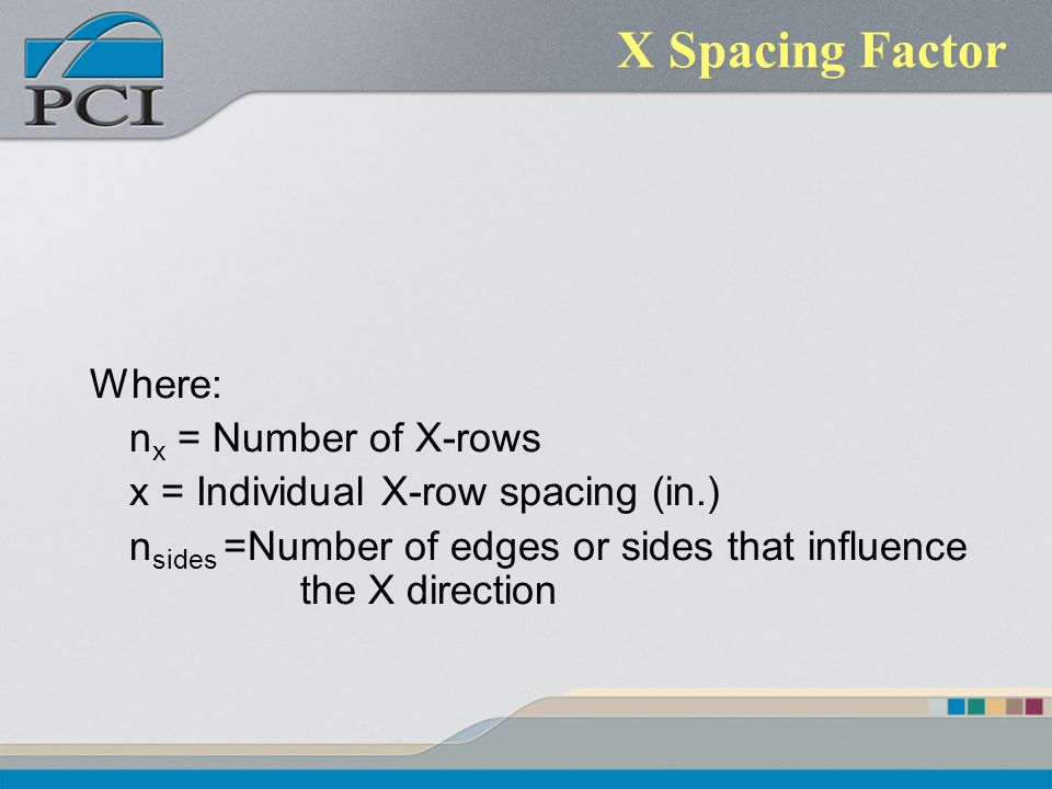 X Spacing Factor Where: nx = Number of X-rows