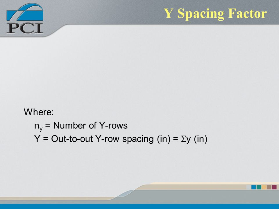 Y Spacing Factor Where: ny = Number of Y-rows