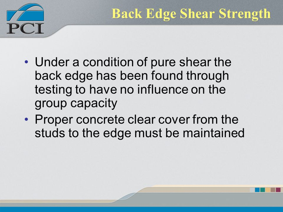 Back Edge Shear Strength