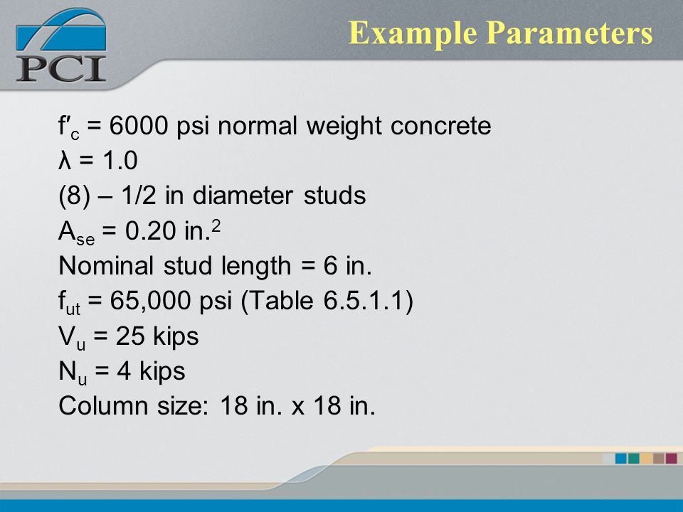 Example Parameters f′c = 6000 psi normal weight concrete λ = 1.0