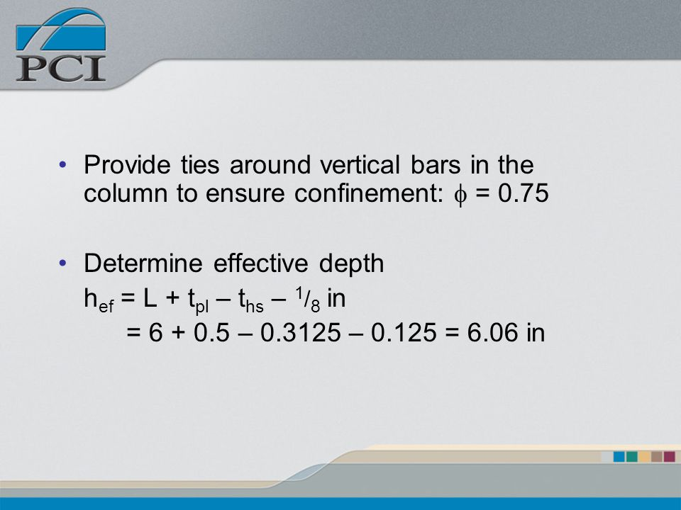 Provide ties around vertical bars in the column to ensure confinement: f = 0.75