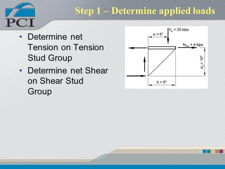 Step 1 – Determine applied loads