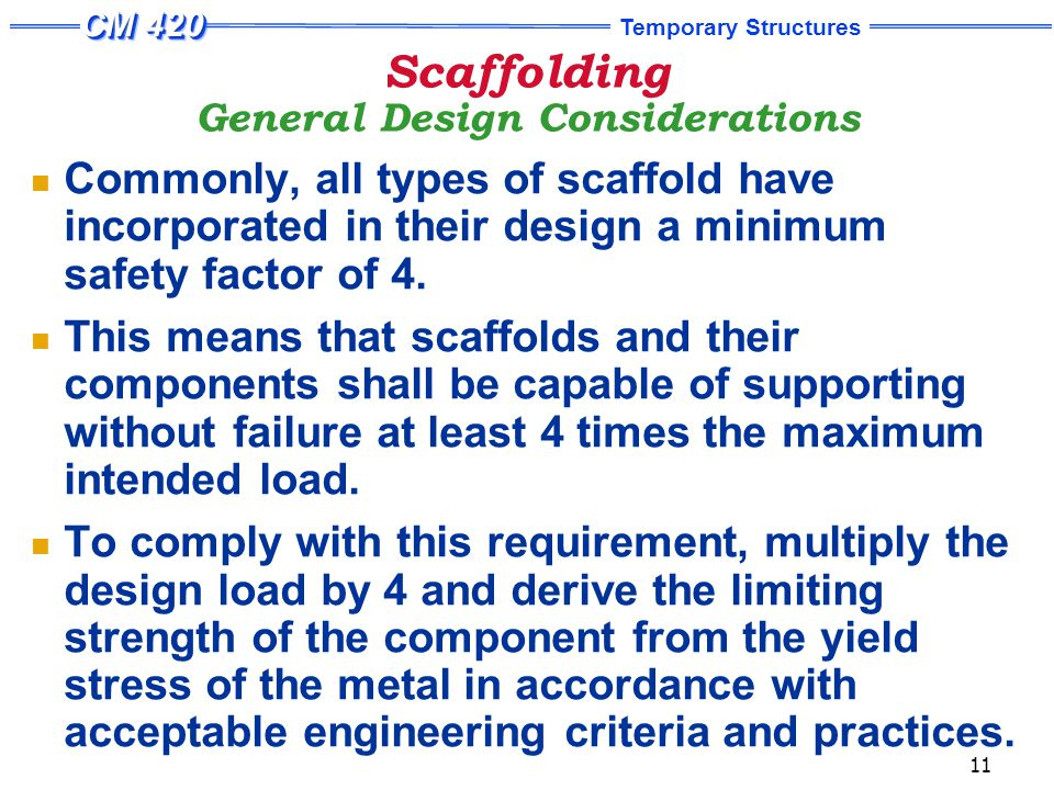 Scaffolding Design Loads