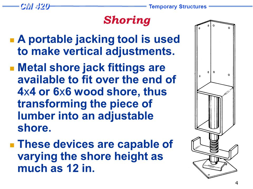 Shoring A number of patented shoring systems have been developed with adjustable legs which eliminate cutting, close fitting, and wedging.