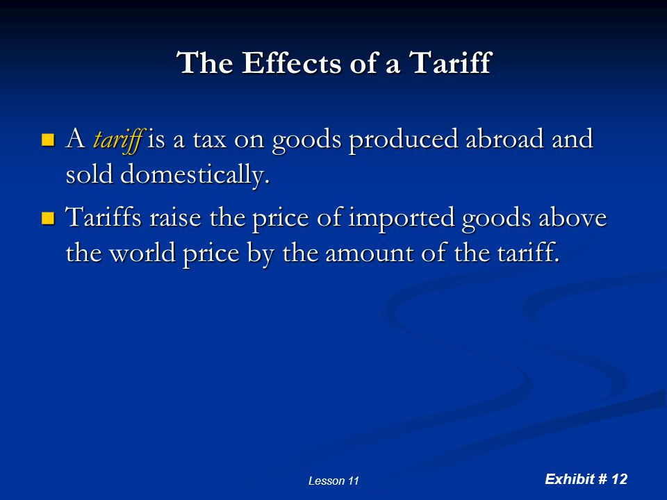 Imposing a tariff Consumer surplus before tariff Producer surplus