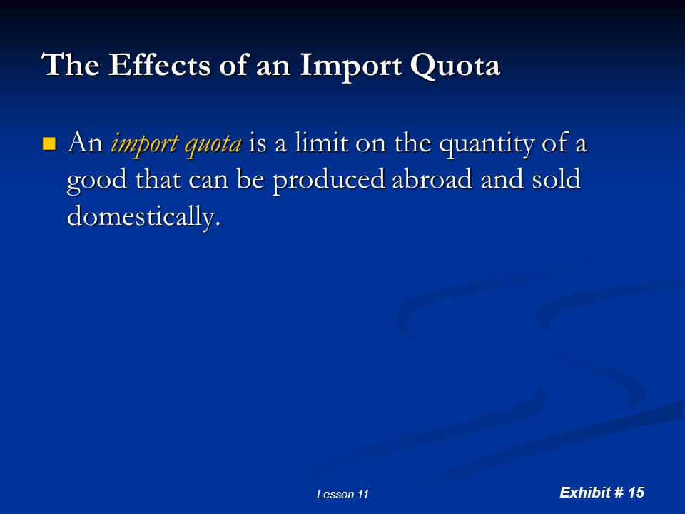 Imposing an Import Quota