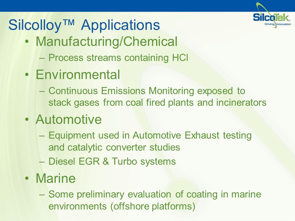 Silcolloy™ Applications