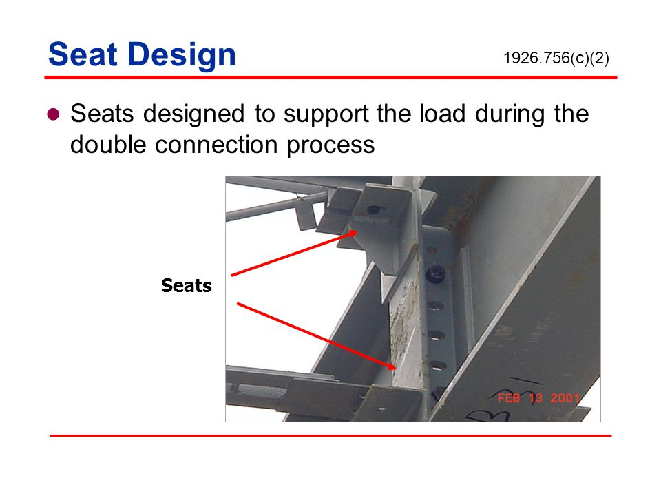 Seat Design 1926.756(c)(2) Seats designed to support the load during the double connection process.