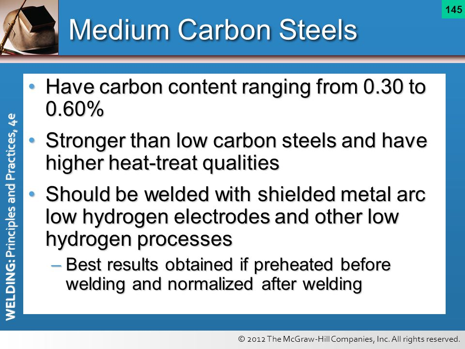 Medium Carbon Steels Have carbon content ranging from 0.30 to 0.60%