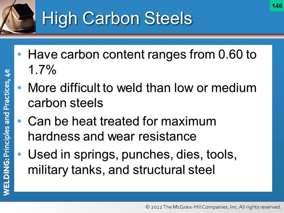 High Carbon Steels Have carbon content ranges from 0.60 to 1.7%