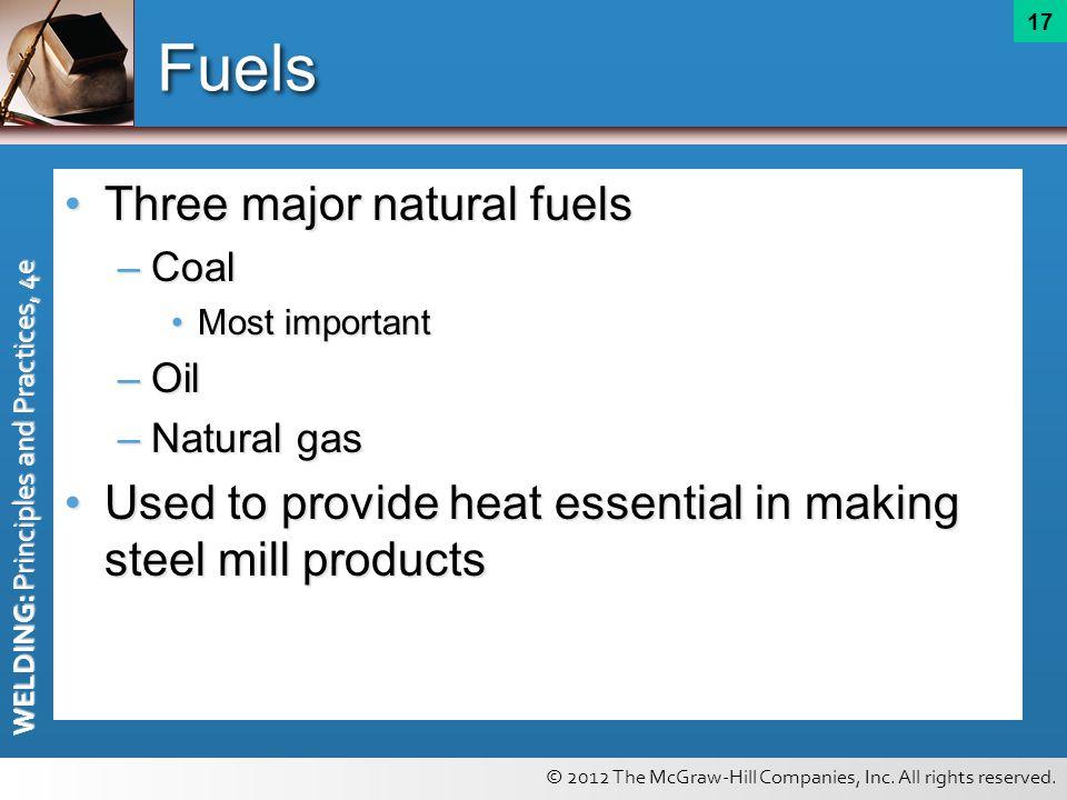 Fuels Three major natural fuels