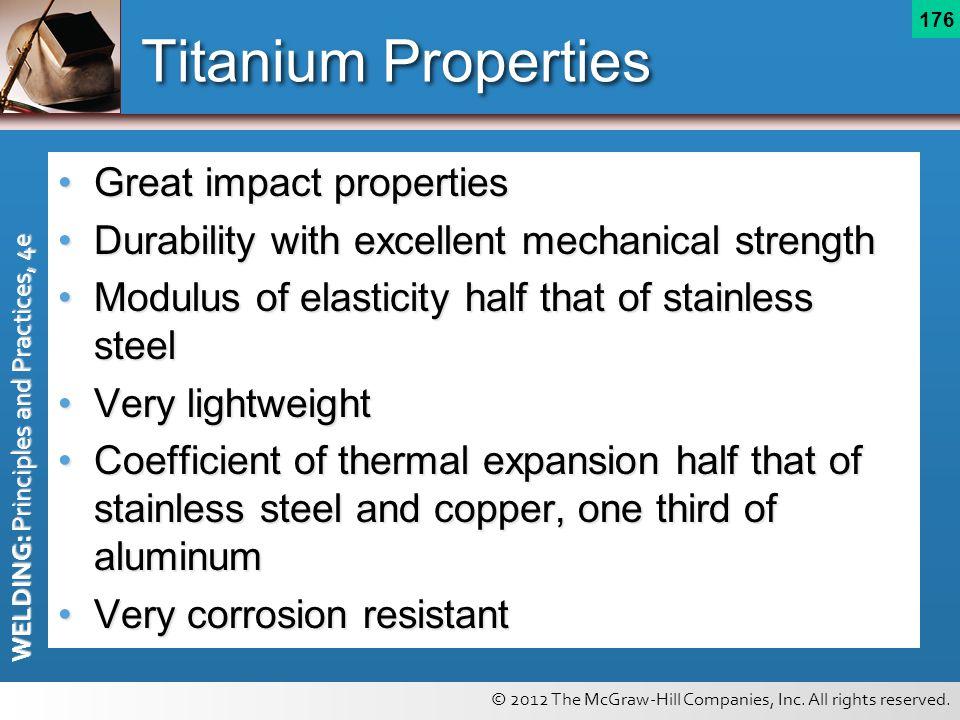 Titanium Properties Great impact properties