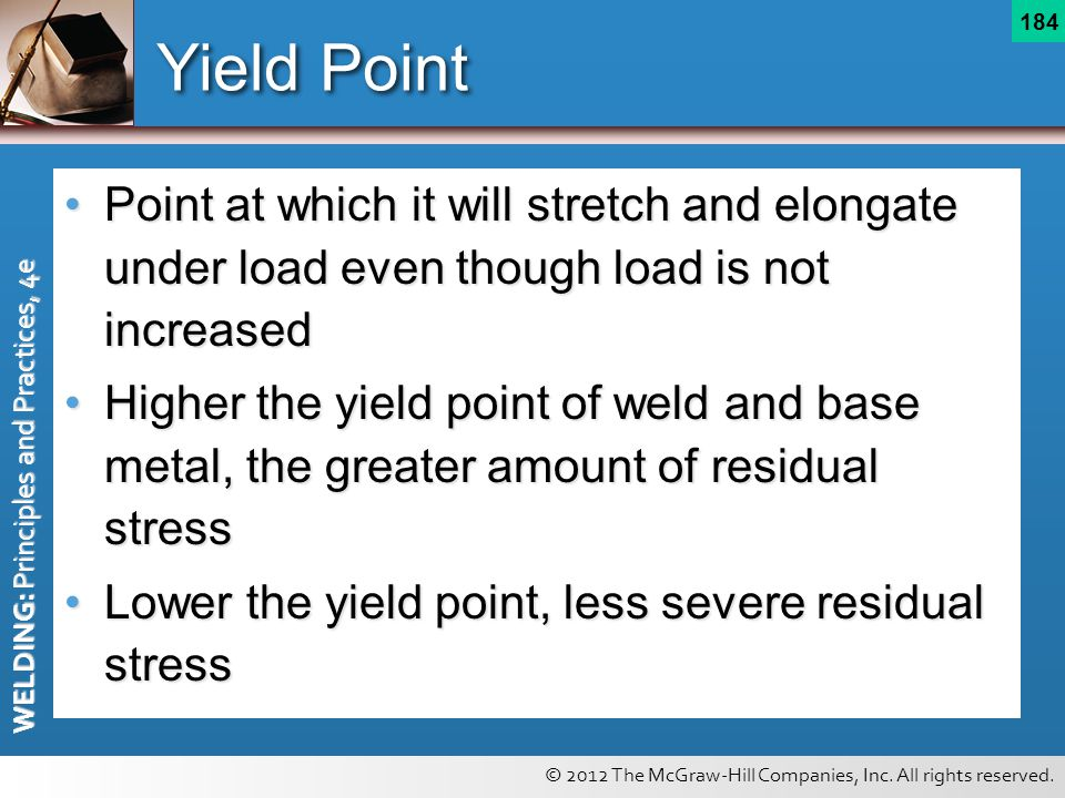 Yield Point Point at which it will stretch and elongate under load even though load is not increased.