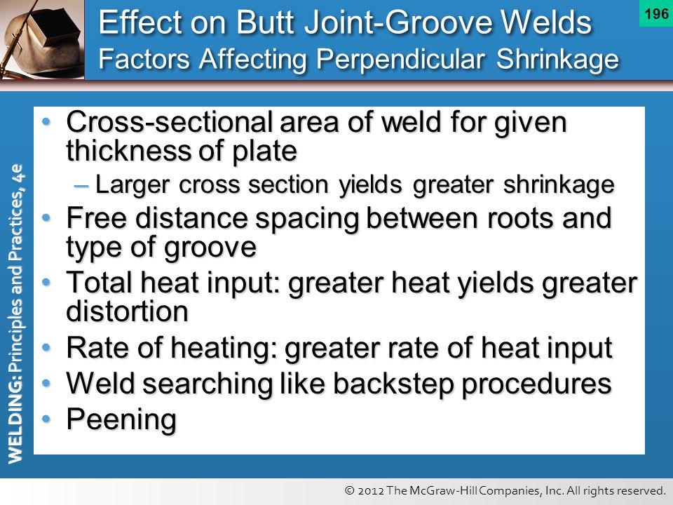 Effect on Butt Joint-Groove Welds Factors Affecting Perpendicular Shrinkage