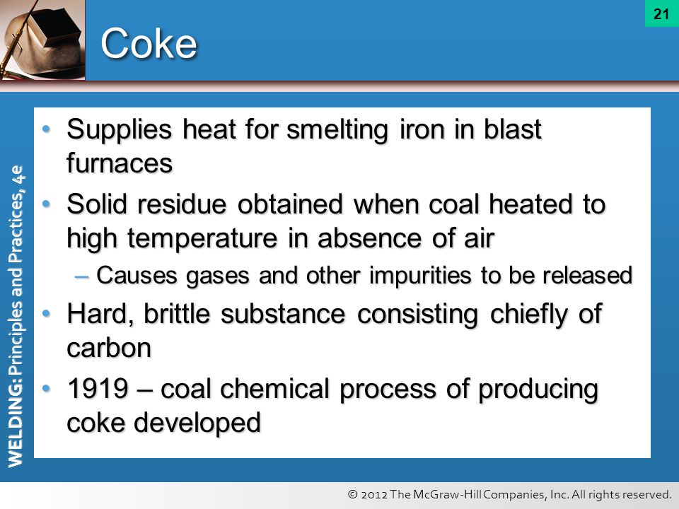 Coke Supplies heat for smelting iron in blast furnaces