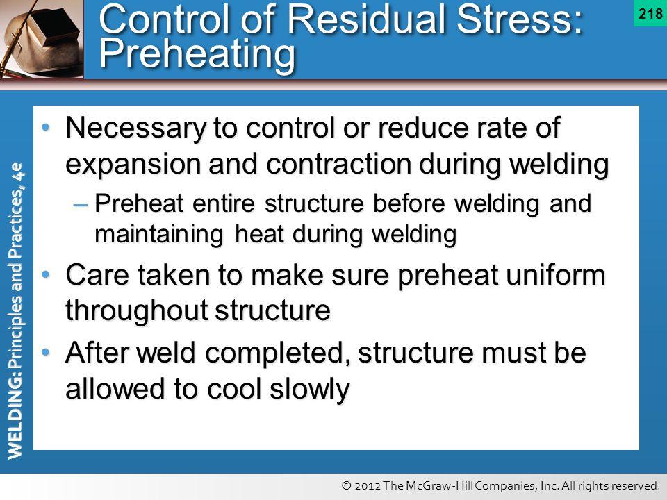 Control of Residual Stress: Preheating