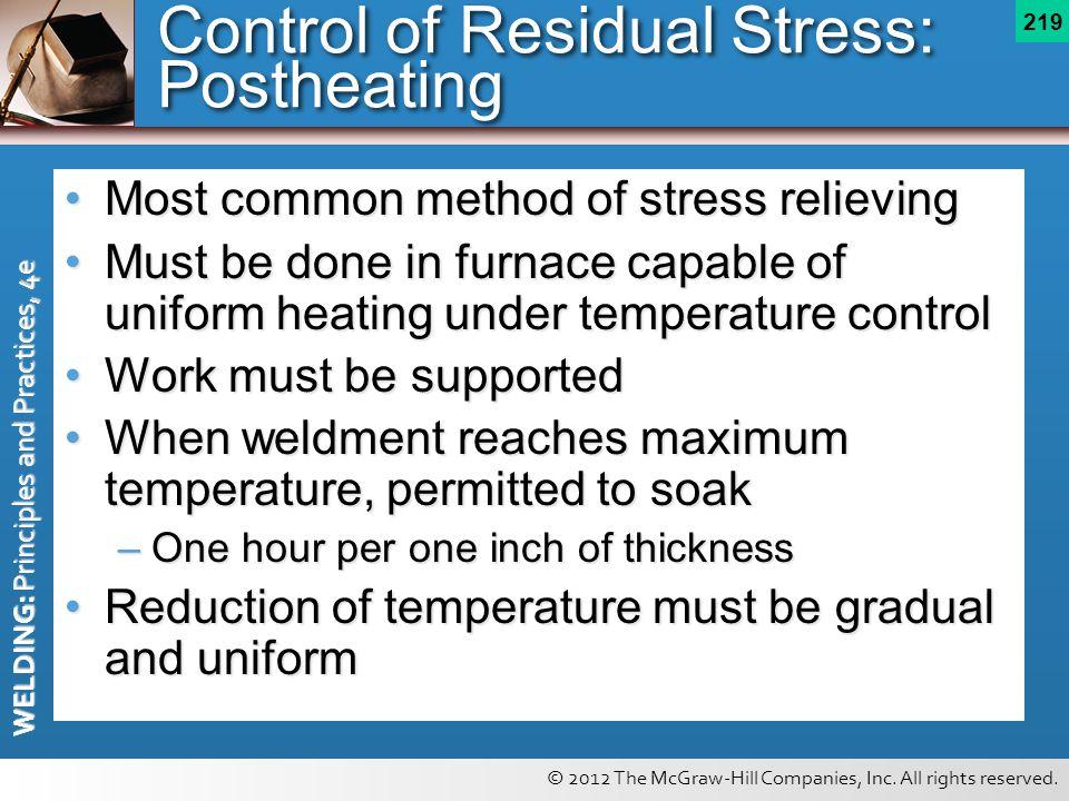 Control of Residual Stress: Postheating