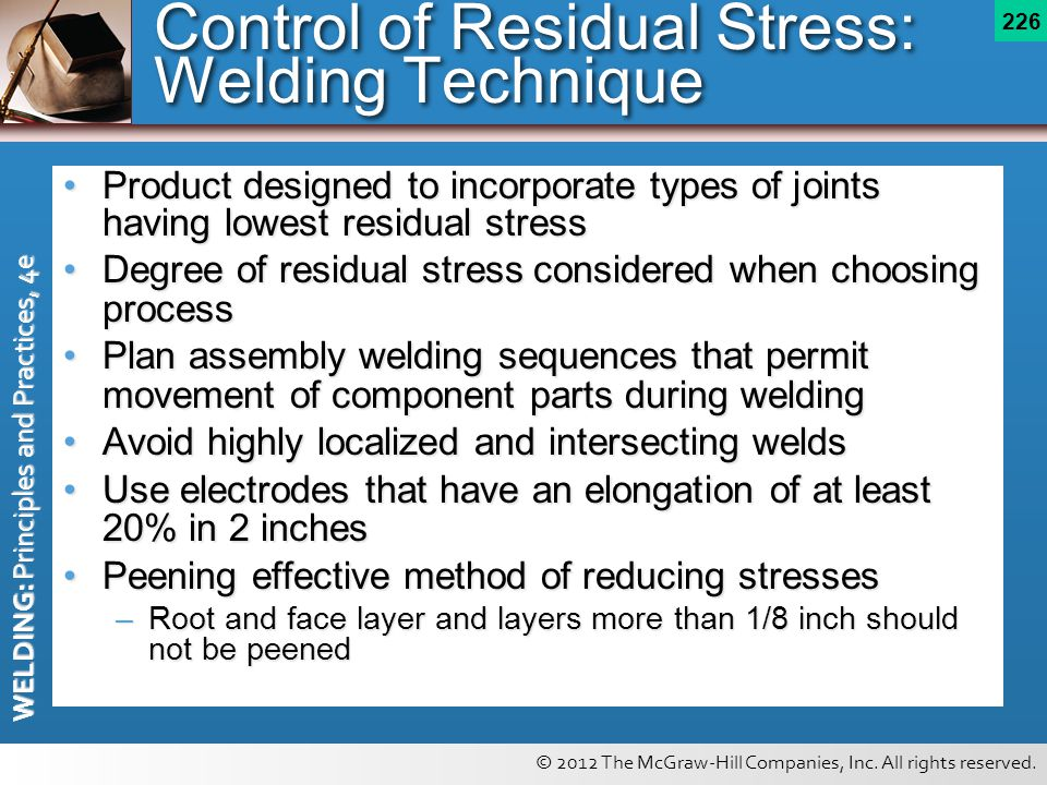 Control of Residual Stress: Welding Technique