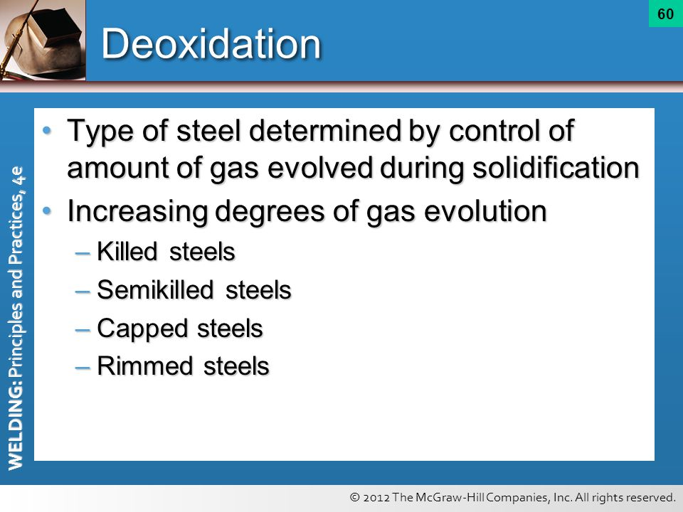 Deoxidation Type of steel determined by control of amount of gas evolved during solidification. Increasing degrees of gas evolution.